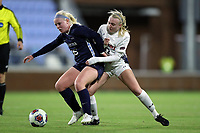 CHAPEL HILL, NC - NOVEMBER 16: Aleigh Gambone #16 of the University of North Carolina is defended by Sydney Cason #17 of Belmont University during a game between Belmont and North Carolina at UNC Soccer and Lacrosse Stadium on November 16, 2019 in Chapel Hill, North Carolina.