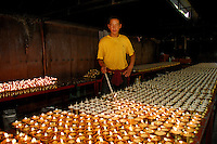 Lighting yak butter lamps at Palha Lupuk cave temple, Lhasa, Tibet, China.