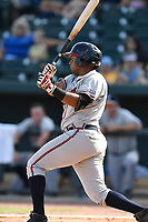 Designated hitter Carlos Martinez (4) of the Rome Braves bats in a game against the Columbia Fireflies on Sunday, July 2, 2017, at Spirit Communications Park in Columbia, South Carolina. Columbia won, 3-2. (Tom Priddy/Four Seam Images)