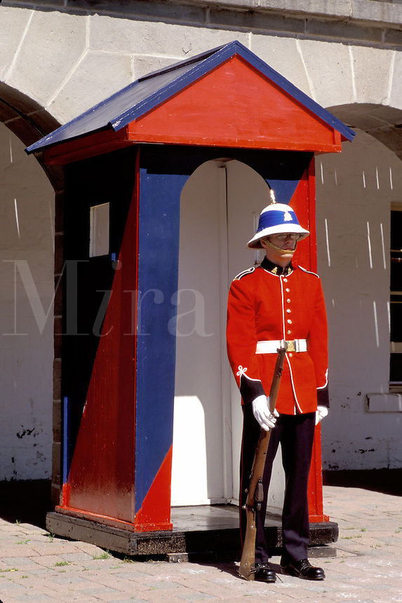 New Brunswick, Fredericton, NB, Canada, Soldier standing guard at Officer's Square in Fredericton. Changing of the Guard.