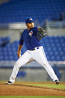GCL Blue Jays starting pitcher Maximo Castillo (53) during the second game of a doubleheader against the GCL Phillies on August 15, 2016 at Florida Auto Exchange Stadium in Dunedin, Florida.  GCL Phillies defeated the GCL Blue Jays 4-0.  (Mike Janes/Four Seam Images)