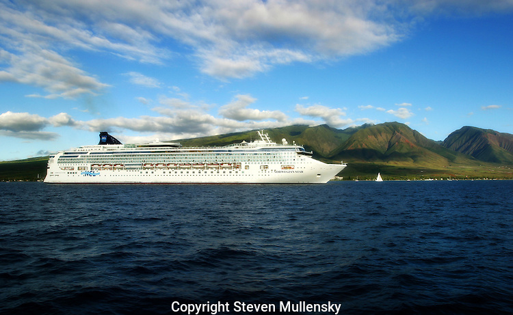Norwegian Cruise Lines ship the Norwegian Seas, lies at anchor off the coast of Maui.