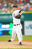 Detroit Tigers starting pitcher Rick Porcello (21) in action against the Los Angeles Angels at Comerica Park on June 25, 2013 in Detroit, Michigan.  The Angels defeated the Tigers 14-8.  (Brian Westerholt/Four Seam Images)