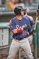 Jake Hager (26) of the Reno Aces during the game against the Salt Lake Bees at Smith's Ballpark on August 24, 2021 in Salt Lake City, Utah. The Aces defeated the Bees 6-5. (Stephen Smith/Four Seam Images)