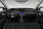 Stock photo of straight dashboard view of a 2019 Nissan X-Trail Tekna 5 Door SUV