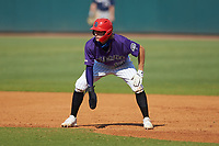 Drake Varnado (13) of IMG Academy in Port Neches, TX playing for the Colorado Rockies scout team takes his lead off of first base during the East Coast Pro Showcase at the Hoover Met Complex on August 5, 2020 in Hoover, AL. (Brian Westerholt/Four Seam Images)