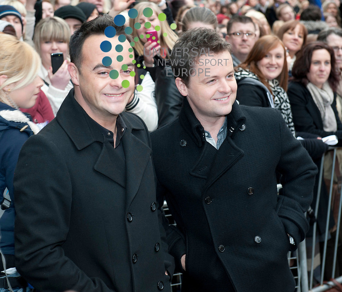 Britain's Got Talent in Edinburgh. Pictured (L) Ant and Dec..Picture: Pavol Mraz/Universal News And Sport (Scotland). 11/ February 2012.