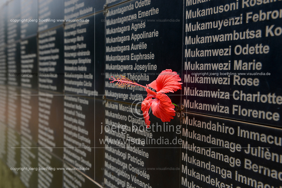 RWANDA, Kigali, Kigali Genocide Memorial , a museum and memorial to remember the genocide of 1994 where about 1 million Tutsi were murdered by Hutu, plate with Tutsi victims of mass grave / RUANDA, Kigali, Voelkermorddenkmal, Museum, Denkmal und Ruhestaette fuer 250.000 Opfer des Genozids an der Tutsi Bevoelkerungsgruppe im Jahr 1994, Kigali Genocide Memorial, Grabtafel mit Namen ermordeter Tutsi