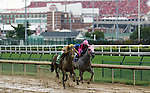 LOUISVILLE, KY -SEP 17: Engaginglee (number 5, outside) duels Miss Pink Diva (pink blinkers, inside, jockey Shaun Bridgmohan) down the stretch in front of Cardinal Stadium to win the 33rd running of the G3 Locust Grove at Churchill Downs, Louisville, KY. Jockey Luis Saez, trainer Dale L. Romans, owners Paul  Lichtefeld and Jack D. Stewart<br />  (Photo by Mary M. Meek/Eclipse Sportswire/Getty Images)