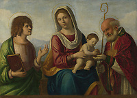Full title: The Virgin and Child with Saints<br /> Artist: Attributed to Giovanni Battista Cima da Conegliano<br /> Date made: about 1513-18<br /> Source: http://www.nationalgalleryimages.co.uk/<br /> Contact: picture.library@nationalgallery.co.uk<br /> <br /> Copyright © The National Gallery, London