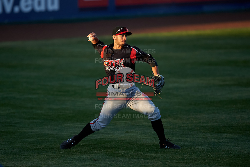 Lake Elsinore Storm left fielder Robbie Podorsky (3) during a California League game against the Lancaster JetHawks on April 10, 2019 at The Hanger in Lancaster, California. Lake Elsinore defeated Lancaster 10-0 in the first game of a doubleheader. (Zachary Lucy/Four Seam Images)