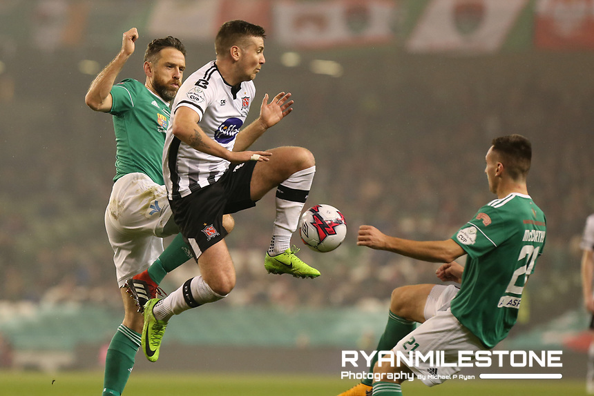 Patrick McEleney of Dundalk in action against Alan Bennett and Conor McCarthy of Cork City during the Irish Daily Mail FAI Cup Final between Dundalk and Cork City, on Sunday 4th November 2018, at the Aviva Stadium, Dublin. Mandatory Credit: Michael P Ryan.