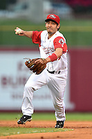 Arkansas Travelers second baseman Vance Albitz (23) in a rundown during a game against the San Antonio Missions on May 24, 2014 at Dickey-Stephens Park in Little Rock, Arkansas.  Arkansas defeated San Antonio 4-2.  (Mike Janes/Four Seam Images)
