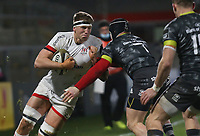 2nd January 2021   Ulster vs Munster <br /> <br /> Matty Rea is tackled by Chris Cloete during the PRO14 Round 10 clash between Ulster Rugby and Munster Rugby at the Kingspan Stadium, Ravenhill Park, Belfast, Northern Ireland. Photo by John Dickson/Dicksondigital