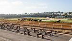 July 10, 2020:  at Del Mar Race Track in Del Mar, California on July 10, 2020. The legendary racetrack dubbed Where The Surf Meets The Turf is facing a temporary suspension of racing after 15 jockeys tested positive for coronavirus this week. Alex Evers/Eclipse Sportswire/CSM