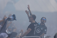 ST PAUL, MN - JULY 18: Minnesota United FC Fans celebrate the goal during a game between Seattle Sounders FC and Minnesota United FC at Allianz Field on July 18, 2021 in St Paul, Minnesota.