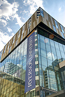 Low-angle view of the Ted Rogers School of Management building at Ryerson University in Toronto, Canada