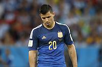 Sergio Aguero of Argentina looks dejected