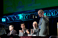 March 19 2003, Montreal, Quebec, Canada<br /> <br /> From Left to Right :<br />  Martin Dussault, President of Reseau Environnement<br /> Andre Boisclair , Quebec's Environment Minister,<br /> David Anderson, Canada's Environment Minister and<br /> Andre Caille, Hydro Quebec President and CEO, Honorary President of Americana 2003,<br />  at  the Opening plenary Session of Americana, a 3 days conference & trade show on environment and waste management organized by Reseau Environnement, March 19 2003 in Montreal, Canada.<br /> <br /> Mandatory Credit: Photo by Pierre Roussel- Images Distribution. (©) Copyright 2003 by Pierre Roussel <br /> <br /> NOTE : <br />  Nikon D-1 jpeg opened with Qimage icc profile, saved in Adobe 1998 RGB<br /> .