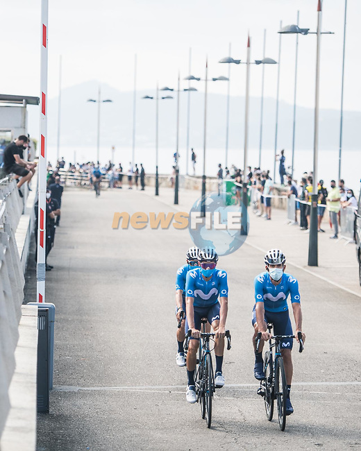 Movistar Team riders head to sign on before Stage 20 of La Vuelta d'Espana 2021, running 202.2km from Sanxenxo to Mos, Spain. 4th September 2021.    <br /> Picture: Charly Lopez/Unipublic | Cyclefile<br /> <br /> All photos usage must carry mandatory copyright credit (© Cyclefile | Unipublic/Charly Lopez)