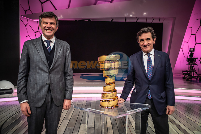 Paolo Bellino, CEO and General Manager of RCS Sport and Urbano Cairo, President of RCS Media Group, at the presentation of the 2021 Giro d'Italia Route in the Rai Studios in Corso Sempione, Milan, Italy. 23rd February 2021.  <br /> Picture: LaPresse/Claudio Furlan   Cyclefile<br /> <br /> All photos usage must carry mandatory copyright credit (© Cyclefile   LaPresse/Claudio Furlan)