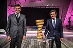 Paolo Bellino, CEO and General Manager of RCS Sport and Urbano Cairo, President of RCS Media Group, at the presentation of the 2021 Giro d'Italia Route in the Rai Studios in Corso Sempione, Milan, Italy. 23rd February 2021.  <br /> Picture: LaPresse/Claudio Furlan | Cyclefile<br /> <br /> All photos usage must carry mandatory copyright credit (© Cyclefile | LaPresse/Claudio Furlan)