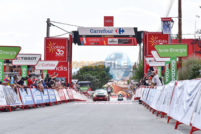 Rafal Majka (POL) UAE Team Emirates wins solo Stage 15 of La Vuelta d'Espana 2021, running 197.5km from Navalmoral de la Mata to El Barraco, Spain. 29th August 2021.     <br /> Picture: Cxcling | Cyclefile<br /> <br /> All photos usage must carry mandatory copyright credit (© Cyclefile | Cxcling)