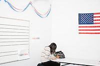 Lisa Lyttle, of St. Paul, Minn., calls people as part of Get Out the Vote efforts in the campaign headquarters of Republican presidential candidate Marco Rubio in Manchester, New Hampshire. Rubio finished 5th in the primary, a disappointing finish after his strong placing in the Iowa caucus a week earlier.