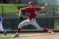 Joe Pistorese #31 of the Washington State Cougars pitches against the UCLA Bruins at Jackie Robinson Stadium on March 24, 2012 in Los Angeles,California. UCLA defeated Washington 12-3.(Larry Goren/Four Seam Images)