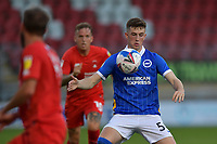 Jensen Weir of Brighton & Hove Albion (U23s) in action during the EFL Trophy behind closed doors match between Leyton Orient and Brighton & Hove Albion Under 21s at the Matchroom Stadium, London, England played without supporters able to attend due to ongoing covid-19 government guidelines on 8 September 2020. Photo by Vince  Mignott.