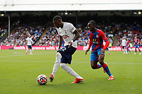11th September 2021; Selhurst Park, Crystal Palace, London, England;  Premier League football, Crystal Palace versus Tottenham Hotspur: Emerson of Tottenham Hotspur passing the ball into midfield while being marked by Tyrick Mitchell of Crystal Palace