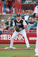 Erie SeaWolves first baseman Josh Lester (17) during an Eastern League game against the Portland Sea Dogs on June 17, 2019 at UPMC Park in Erie, Pennsylvania.  Portland defeated Erie 6-3.  (Mike Janes/Four Seam Images)