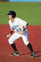 Hunter Lockwood (23) of the Hudson Valley Renegades takes his lead off of first base against the Brooklyn Cyclones at Dutchess Stadium on June 18, 2014 in Wappingers Falls, New York.  The Cyclones defeated the Renegades 4-3 in 10 innings.  (Brian Westerholt/Four Seam Images)