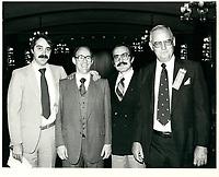 Nick Auf Der Maur, Sid Stevens, Sun Youth-jeunesse au soleil, EDward Garride , President du du Rotary Club de Montreal, George Savridakis le 10 sept 1979<br /> <br /> PHOTO :   Agence Quebec Presse