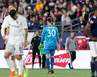 Foxborough, MA - May 25, 2019: In a Major League Soccer (MLS) match, New England Revolution (blue/white) tied D.C. United (white), 1-1, at Gillette Stadium on May 25, 2019 in Foxborough, MA. (Photo by Andrew Katsampes/ISI Photos).<br /> Red Card: Matt Turner (#30)