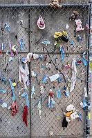 Oklahoma City National Memorial, Oklahoma, USA. Mementoes Left on Wall outside the Memorial.
