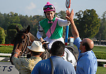 30 August 2008: Jockey Channing Hill is congratulated after his upset win aboard First Defence in the Grade 1 Forego Stakes at Saratoga Race Course in Saratoga Springs, New York.
