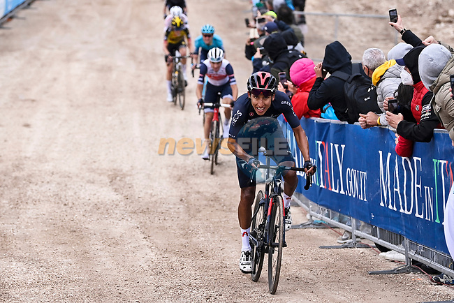 Egan Bernal (COL) Ineos Grenadiers out front on the final gravel climb to win Stage 9 of the 2021 Giro d'Italia, running 158km from Castel di Sangro to Campo Felice (Rocca di Cambio), Italy. 16th May 2021.  <br /> Picture: LaPresse/Fabio Ferrari | Cyclefile<br /> <br /> All photos usage must carry mandatory copyright credit (© Cyclefile | LaPresse/Fabio Ferrari)