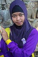 Borobudur, Java, Indonesia.  Indonesian Student from Lampung Visiting the Temple.