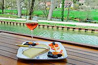 France, Burgundy, Bourgogne, Dijon. European Waterways wine barge cruising. Cheese and wine.