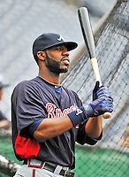 24 September 2011: Atlanta Braves outfielder Jason Heyward awaits his turn in the batting cage prior to a game against the Washington Nationals at Nationals Park in Washington, DC. The Nationals defeated the Braves 4-1 to even up their 3-game series. Mandatory Credit: Ed Wolfstein Photo