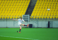 Jordie Barrett kicks for goal during the rugby match between North and South at Sky Stadium in Wellington, New Zealand on Saturday, 5 September 2020. Photo: Dave Lintott / lintottphoto.co.nz