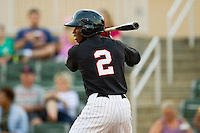 Tim Anderson (2) of the Kannapolis Intimidators at bat against the Greenville Drive at CMC-Northeast Stadium on June 29, 2013 in Kannapolis, North Carolina.  The Drive defeated the Intimidators 5-3.   (Brian Westerholt/Four Seam Images)