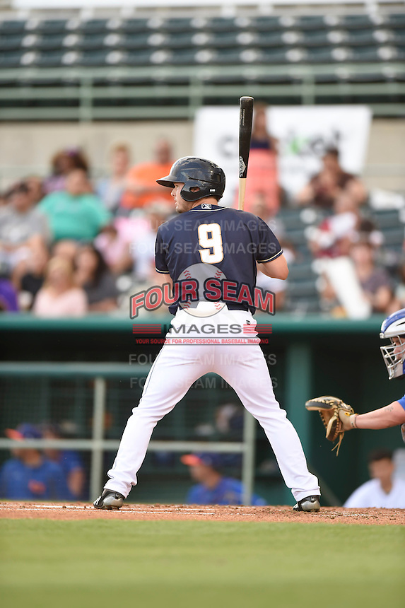 ***Temporary Unedited Reference File***San Antonio Missions center fielder Auston Bousfield (9) during a game against the Midland RockHounds on April 21, 2016 at Nelson W. Wolff Municipal Stadium in San Antonio, Texas.  Midland defeated San Antonio 9-2.  (Mike Janes/Four Seam Images)