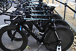 Sky Procycling team Pinarello bikes lined up before the Prologue of the 99th edition of the Tour de France 2012, a 6.4km individual time trial starting in Parc d'Avroy, Liege, Belgium. 30th June 2012.<br /> (Photo by Eoin Clarke/NEWSFILE)