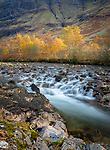 Glencoe, Scotland: River Coe flowing through highland hills in autumn