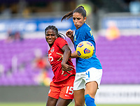 ORLANDO, FL - FEBRUARY 24: Nichelle Prince #15 fights for the ball with Rafaelle #4 of Brazil during a game between Brazil and Canada at Exploria Stadium on February 24, 2021 in Orlando, Florida.