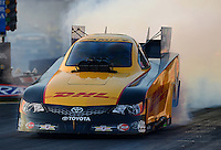 Oct. 5, 2012; Mohnton, PA, USA: NHRA funny car driver Jeff Arend during qualifying for the Auto Plus Nationals at Maple Grove Raceway. Mandatory Credit: Mark J. Rebilas-