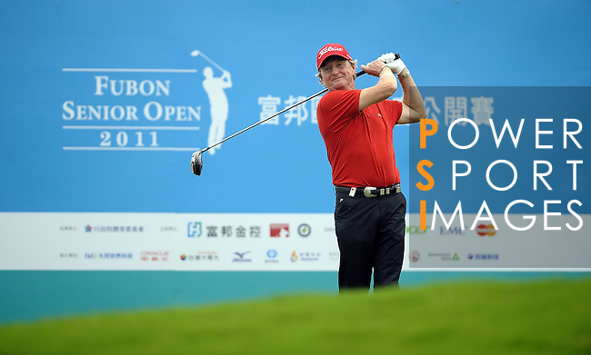 TAIPEI, TAIWAN - NOVEMBER 18:  Peter Dahlberg of Sweden tees off on the 10th hole during day one of the Fubon Senior Open at Miramar Golf & Country Club on November 18, 2011 in Taipei, Taiwan. Photo by Victor Fraile / The Power of Sport Images