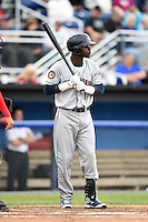 Mahoning Valley Scrappers outfielder D'vone McClure (1) at bat during a game against the Batavia Muckdogs on June 20, 2014 at Dwyer Stadium in Batavia, New York.  Batavia defeated Mahoning Valley 7-4.  (Mike Janes/Four Seam Images)